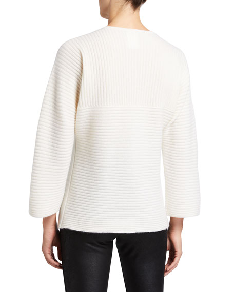 Image 2 of 2: Neiman Marcus Cashmere Collection Ribbed V-Neck Cashmere Sweater