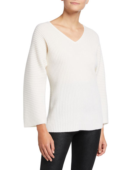 Image 1 of 2: Neiman Marcus Cashmere Collection Ribbed V-Neck Cashmere Sweater
