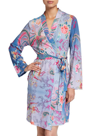 Johnny Was Floral Print Knit Robe