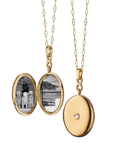 Monica rich kosann jewelry at neiman marcus 18k gold locket necklace with diamond center aloadofball Gallery