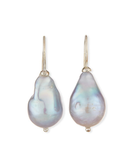 Gray Baroque Pearl Drop Earrings