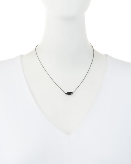 Bridgete Druzy Pendant Necklace, Black Metallic