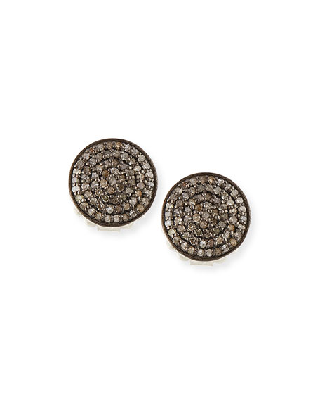 Pavé Diamond Disc Stud Earrings