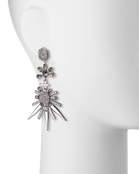 Isadora Crystal Statement Earrings, Black (Noir)