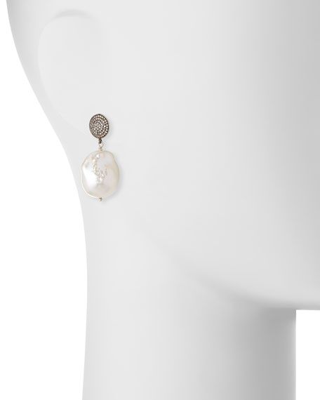 Baroque Pearl, Pave Diamond & Crystal Drop Earrings