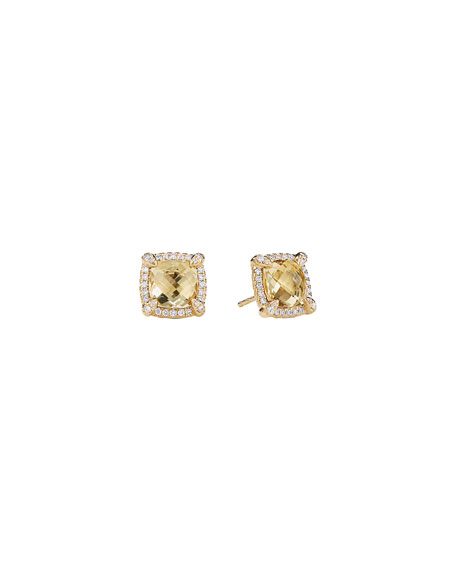 Châtelaine 8mm Champagne Citrine & Diamond Earrings