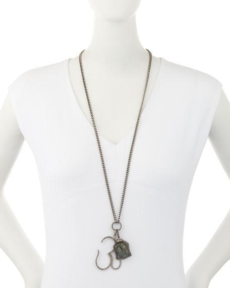 Carved Labradorite Buddha & Diamond Pave Om Pendant Necklace