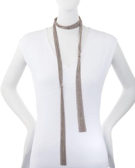 Long Multi-Strand Monili Wrap Necklace, Silver