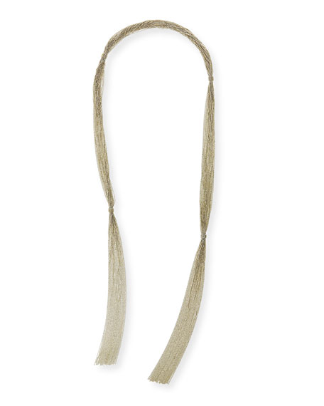 Long Multi-Strand Monili Wrap Necklace, Silver