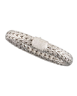 John Hardy Large Chain Bracelet with Diamond Pave Clasp
