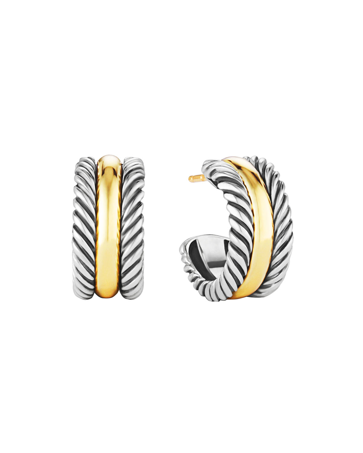 Cable Clics Hoop Earrings With Gold