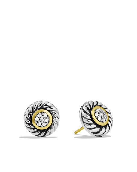 Cable Classics Small Earrings with Diamonds with Gold