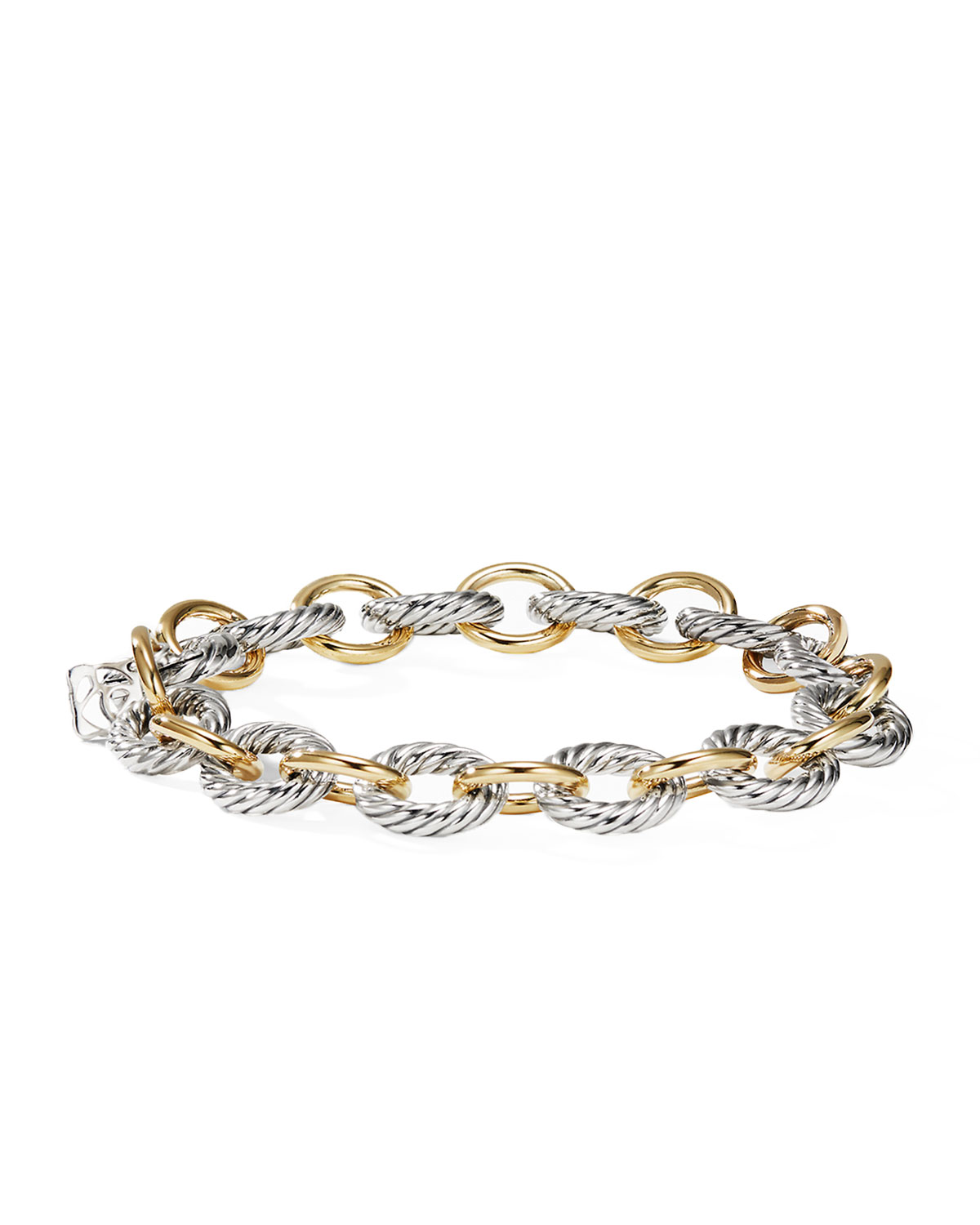 Oval Link Bracelet With Gold