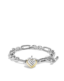David Yurman Cable Heart Charm Bracelet with Gold