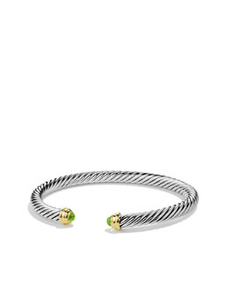 David Yurman Cable Classics Bracelet with Peridot and Gold
