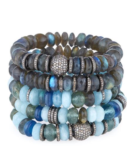 10mm Mixed Bead Bracelet with Pavé Diamonds, Blue/Moss