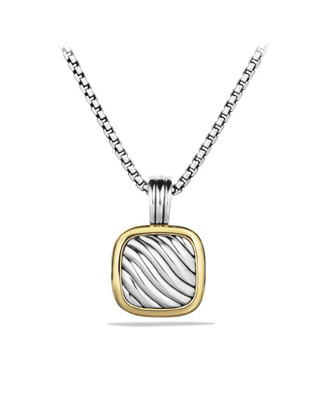 Sculpted Cable Square Locket with Gold