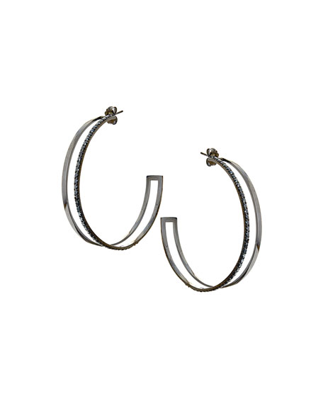 LANA Reckless Dare Black Gold/Diamond Hoop Earrings