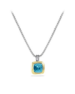 David Yurman Albion Pendant with Blue Topaz and Gold