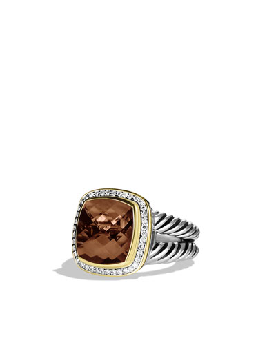 David Yurman Albion Ring with Smoky Quartz, Diamonds, and Gold