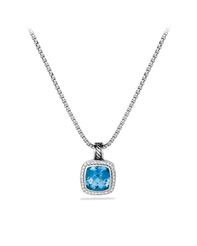 David Yurman Albion Pendant with Blue Topaz and Diamonds