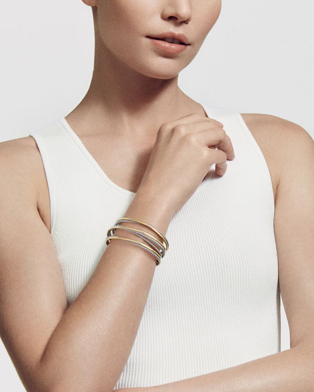 Crossover Four-Row Cuff with Gold