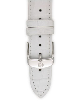 MICHELE White Gator Strap, 16mm