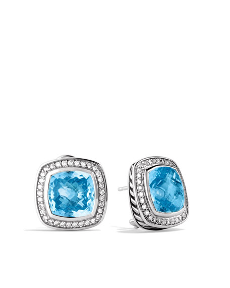 David Yurman Albion Earrings with Blue Topaz and