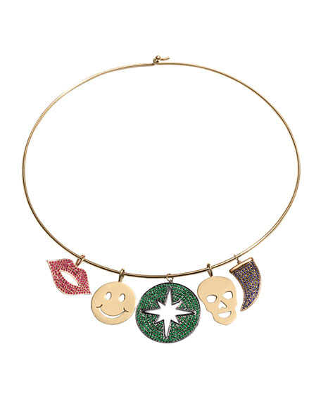14K Gold Collar Necklace with Charms