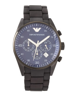 Armani Watches Silicon-Wrapped Bracelet Sportivo Chronograph, Black