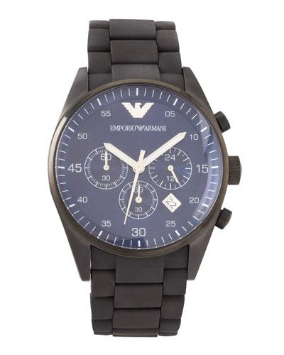 Armani Watches Silicon-Wrapped Bracelet Sportivo Chronograph, Black