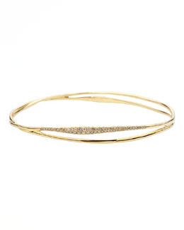Ippolita Drizzle Split Pave Diamond Gold Bangle