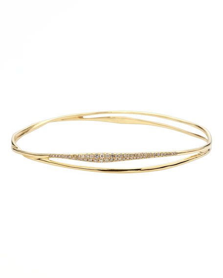 Ippolita Drizzle Split Pave Diamond Gold Bangle