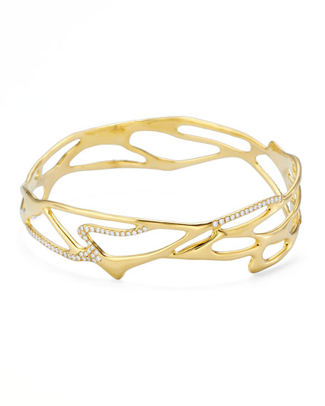 Drizzle 18k Gold Cutout Pave Diamond Bangle