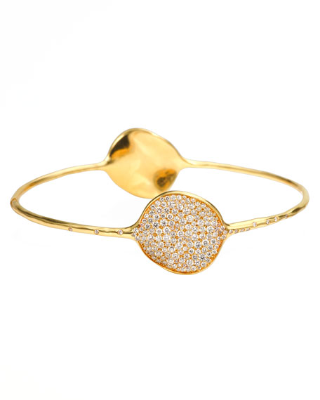 Stardust Large Two-Flower Gold Diamond Bangle