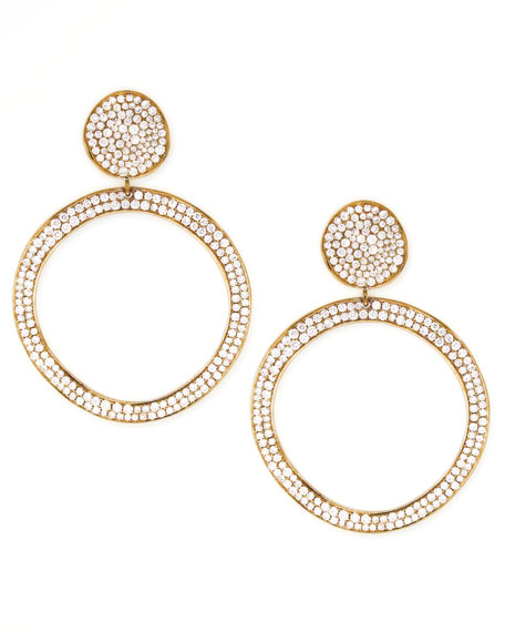 Stardust Snowman Post Pave Gold Earrings
