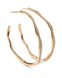 Ippolita Drizzle #3 Wavy Diamond Gold Hoop Earrings