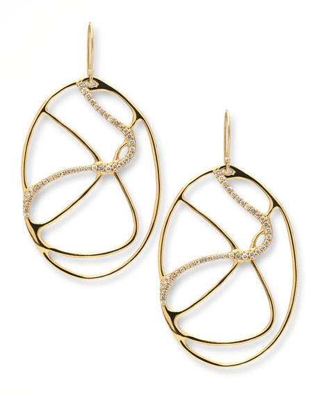 Drizzle 18k Gold Oval Diamond Drop Earrings