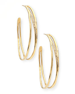 Ippolita Drizzle 18k Gold Diamond Hoop Earrings