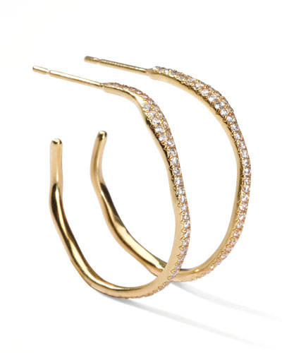 Ippolita Drizzle #2 Wavy Diamond Gold Hoop Earrings
