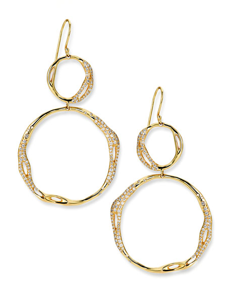 Drizzle 18k Gold Pave Diamond Snowman Earrings