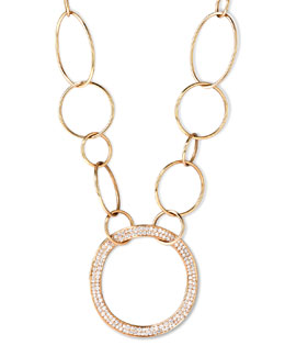 Ippolita Stardust 18k Gold Pave Diamond Hollow-Pendant Chain Necklace