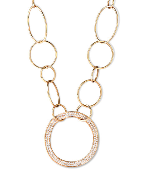 Ippolita Stardust 18k Gold Pave Diamond Hollow-Pendant Chain