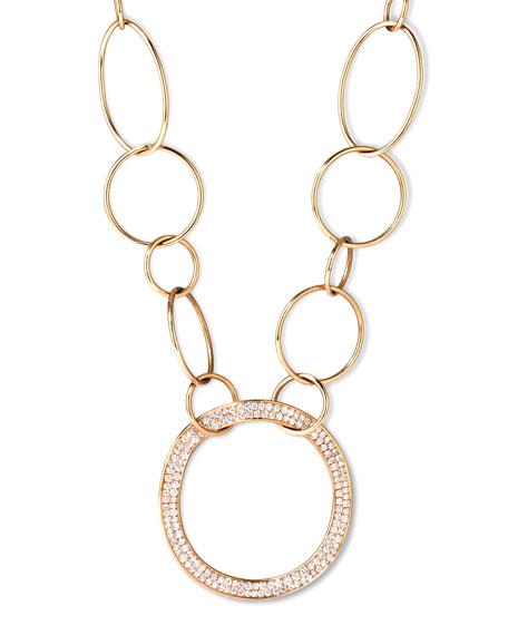 Ippolita Stardust 18k Gold Pave Diamond Hollow-Pendant Chain