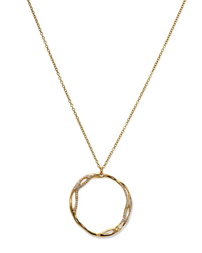 Ippolita Drizzle Medium Pave Open-Circle Pendant Necklace