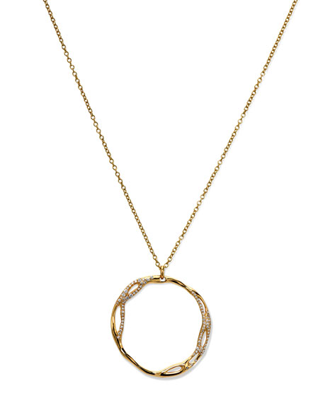 Drizzle Medium Pave Open-Circle Pendant Necklace