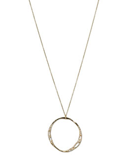 Ippolita Drizzle 18k Gold Large Pave Open-Circle Necklace
