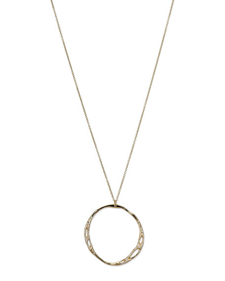 Drizzle 18k Gold Large Pave Open-Circle Necklace