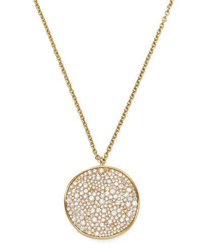 Ippolita Stardust 18k Gold Diamond Wavy Disc Necklace