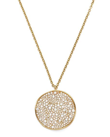 Stardust 18k Gold Diamond Wavy Disc Necklace